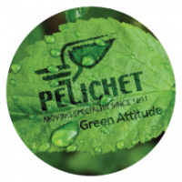 Pelichet logo on green leaf graphic.