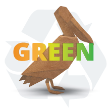 Wooden pelican image with words GREEN and recycle graphic.