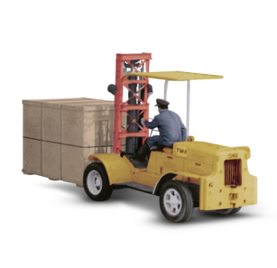 Image depicting forklift driver busy transporting a wooden box.