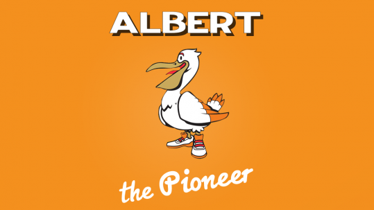 Albert the Pioneer Pelichet mascot.