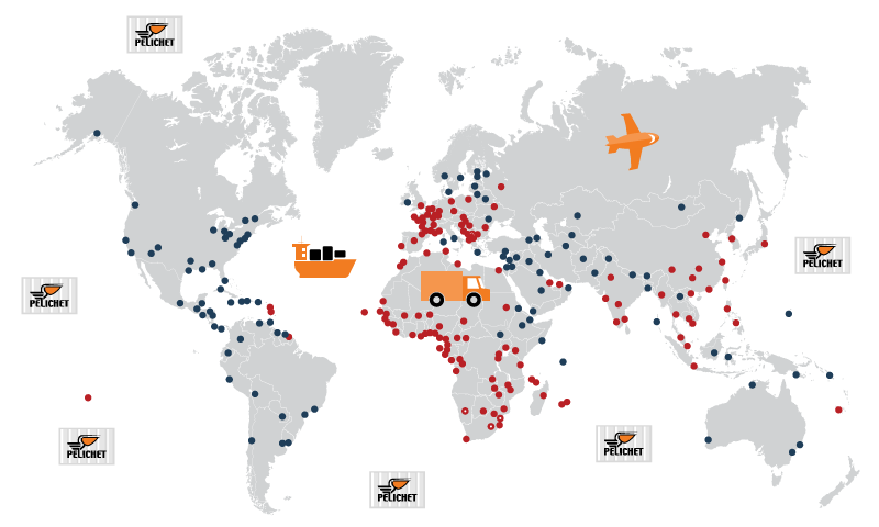 Pelichet CH removals world coverage map.