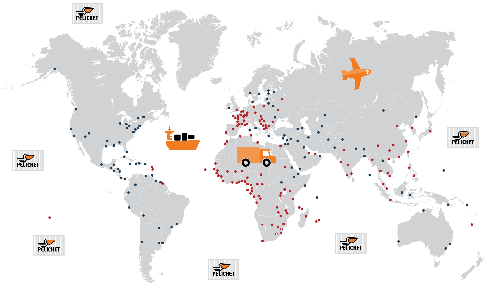 Pelichet Swiss removals coverage map.